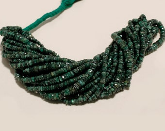 16 inch dark natural emerald faceted disc bead one strand 4mm-5mm