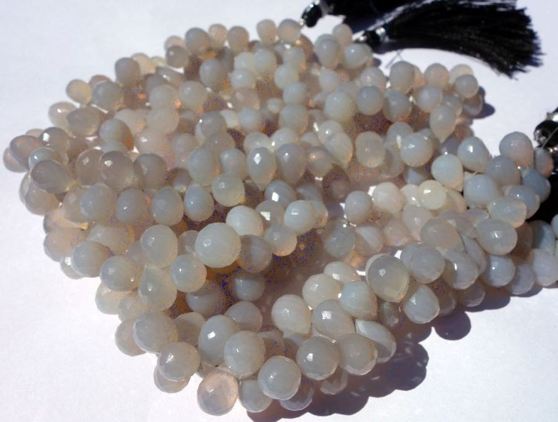 100/% Natural Gray ChalcedonyFaceted Pear BriolettesDrops Briolettes@DSC01367