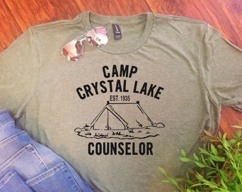 26e2124f8 CAMP CRYSTAL LAKE Counselor **Adult T Shirt**Friday/13th/Jason/Horror /Birthday/Gift