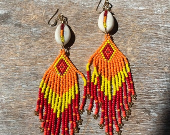 Sunset inspired Dangle seed bead earrings with cowrie shell, red orange yellow,