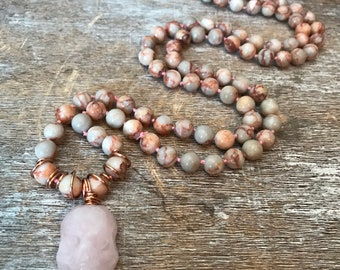 Red Vein Jasper and Rose Quartz Sugar Skull beaded necklace, Halloween, Day of the dead, no clasp