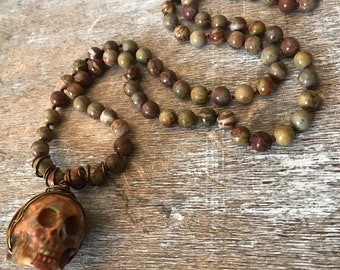 Red creek jasper and crazy lace agate skull necklace, Halloween jewelry, no clasp long beaded necklace