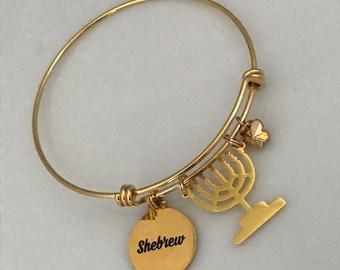 Shebrew Adjustable Charm bracelet, Hebrew Israelite jewelry, stainless steel, 7 candle menorah
