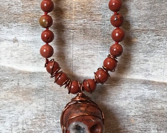 Red Jasper Skull Beaded Necklace, Long necklace, no clasp, Halloween jewelry