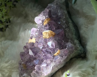 Amethyst cluster with calcite inclusions, February Birthstone, boho decor