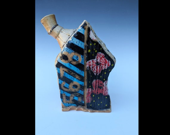 Handmade Ceramic House Bottle with Numbers