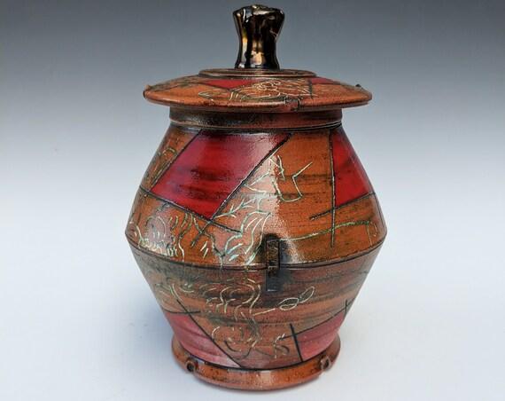Handmade Ceramic Lidded Jar with Peonies