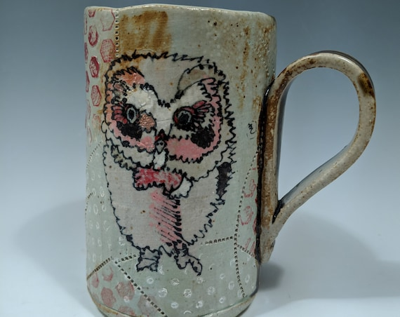 Hand built ceramic Mug, Tall, with Red Owls,  by Michelle Hinton