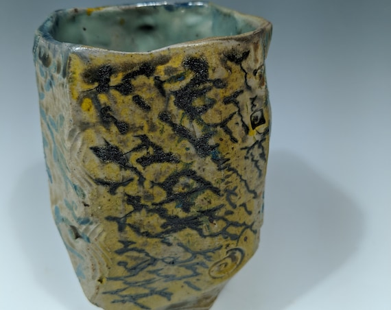 Handmade ceramic faceted cup, 16 oz.