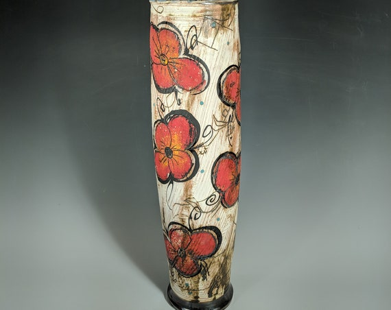 Handmade Ceramic Tall Vase with Astronaut and Pansy's