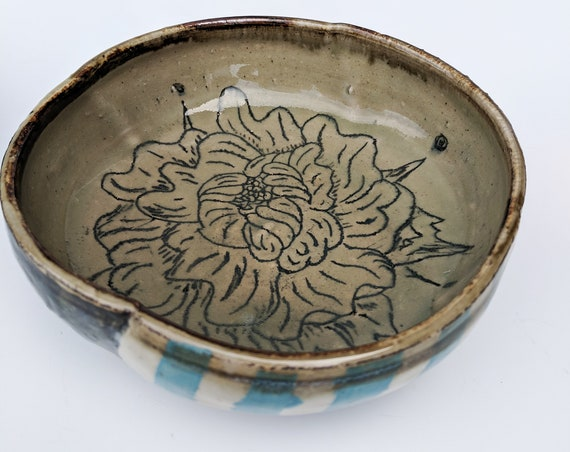 Handmade ceramic bowls, Blue striped bowls with flower carvings