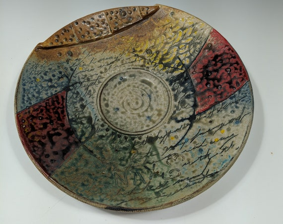 Large Handmade ceramic platter, with Red