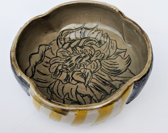 Handmade ceramic bowls, yellow striped bowls with flower carvings