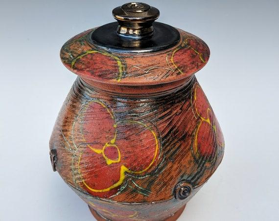 Handmade Ceramic Lidded Jar with Red Pansies