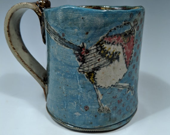 Hand built ceramic mug, with Fairy Wrens, by Michelle Hinton, Red Dots