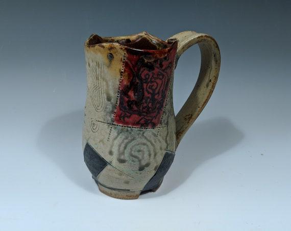 Handmade ceramic Mug, 18 oz. Angry Robots