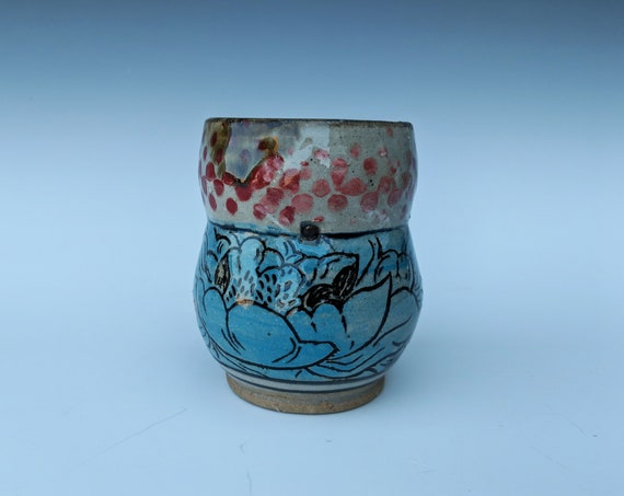 Handmade ceramic cup, with Carved Peonies, Collaboration with Michelle Hinton