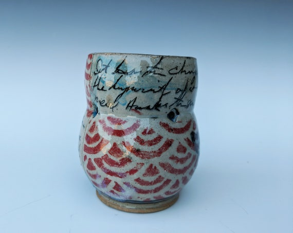 Handmade ceramic cup, with written word