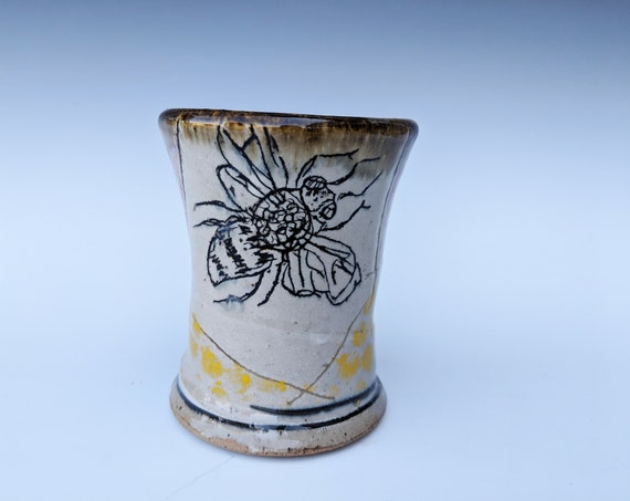 Handmade ceramic cup, with Bees