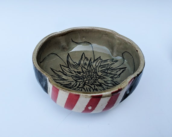 Handmade ceramic bowls, Red striped bowls with flower carvings