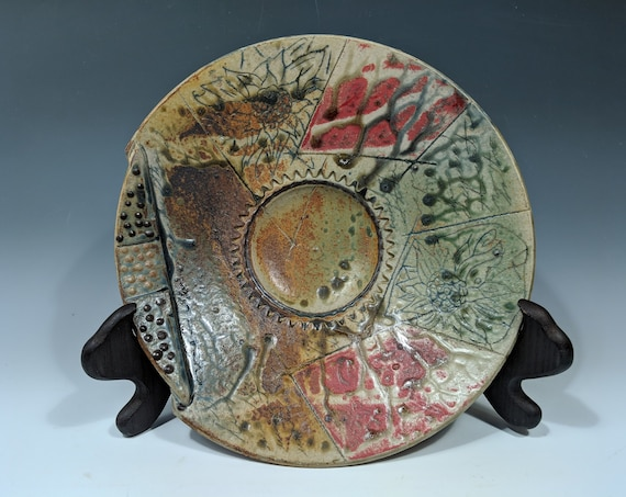 Large Handmade ceramic platter, with Red and flowers