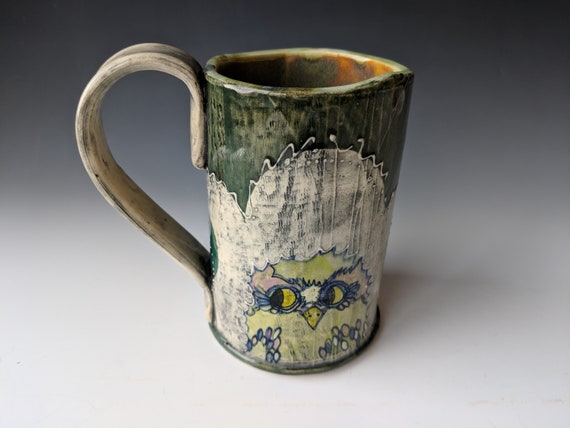 Hand built ceramic Mug, Tall, Chartreuse Owls with Pink Eyebrows,  by Michelle Hinton 16 ounces