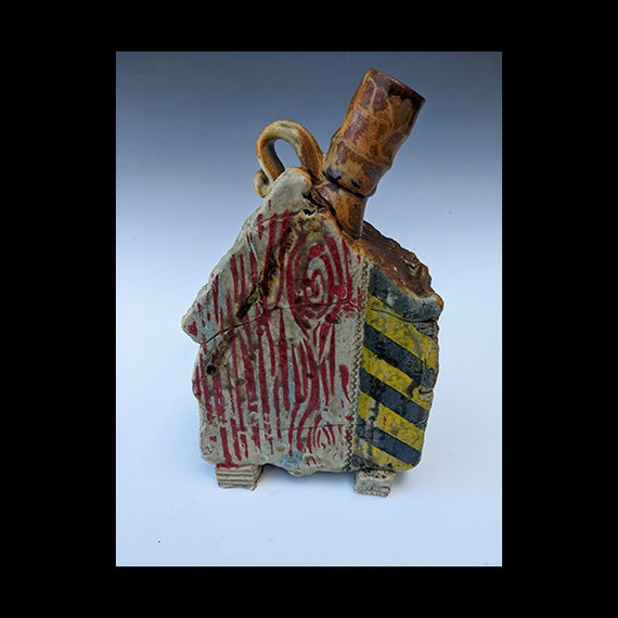 Handmade Ceramic House Bottle With Wood Grain, Caution Stripes