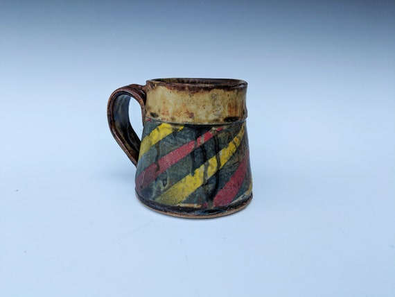 Handmade ceramic cup, with Stripes