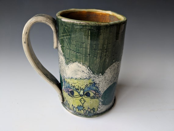 Hand built ceramic Mug, Tall, Chartreuse Owls with Blue Eyebrows,  by Michelle Hinton 16 ounces