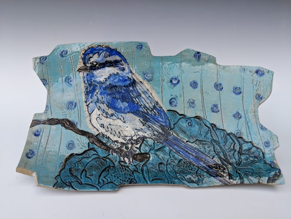 Large Handmade ceramic platter, with Bird, by Michelle Hinton