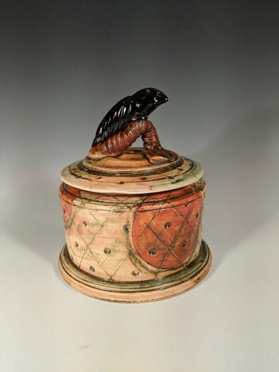Handmade Ceramic Bird Jar,  Black Bird Jar