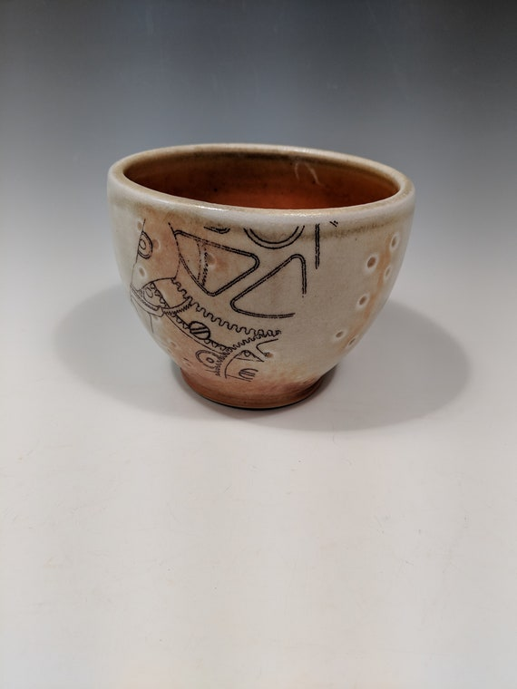 Handmade porcelain woodfire bowl, tea bowl, with decals