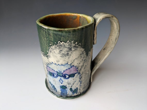 Hand built ceramic Mug, Tall, Blue Owls with Purple Eyebrows,  by Michelle Hinton 16 ounces