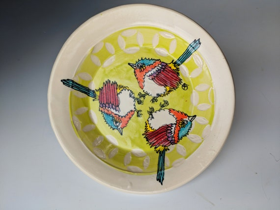 Handmade ceramic plate, Fairy Wren Pattern, by Michelle Hinton, Circles