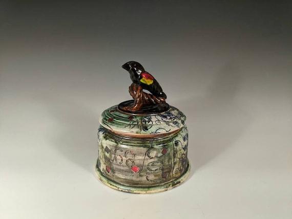Handmade Ceramic Bird Jar, Red and Yellow Headed Black Bird Jar