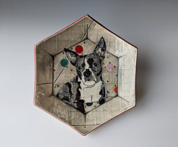 Handmade ceramic plate, Boston Terrier by Michelle Hinton, Hexagon