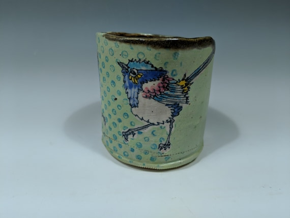 Hand built ceramic cup, with Fairy Wrens by Michelle Hinton