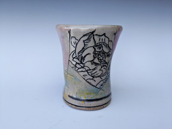 Handmade ceramic cup, with peonies