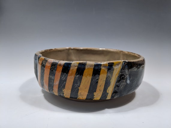 Handmade ceramic serving bowl, yellow striped bowls with flower carvings