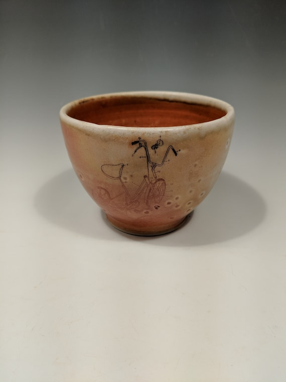 Handmade porcelain woodfire bowl, tea bowl, with tryke decal