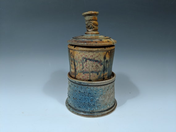 Handmade Ceramic Two Tier Lidded Jar with Story, Coffee Keeper