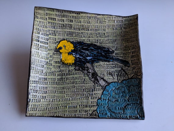 Handmade ceramic plate , with Yellow Headed Blackbird, by Michelle Hinton