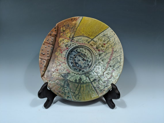 Large Handmade ceramic platter, with Yellow