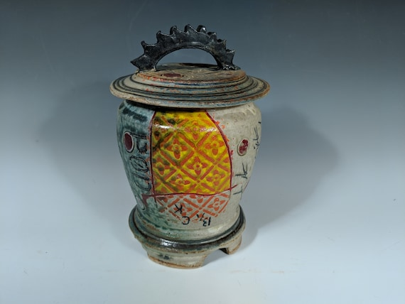 Handmade Ceramic Lidded Gear Top Jar, with Orange and Yellow Pattern with Red Dots
