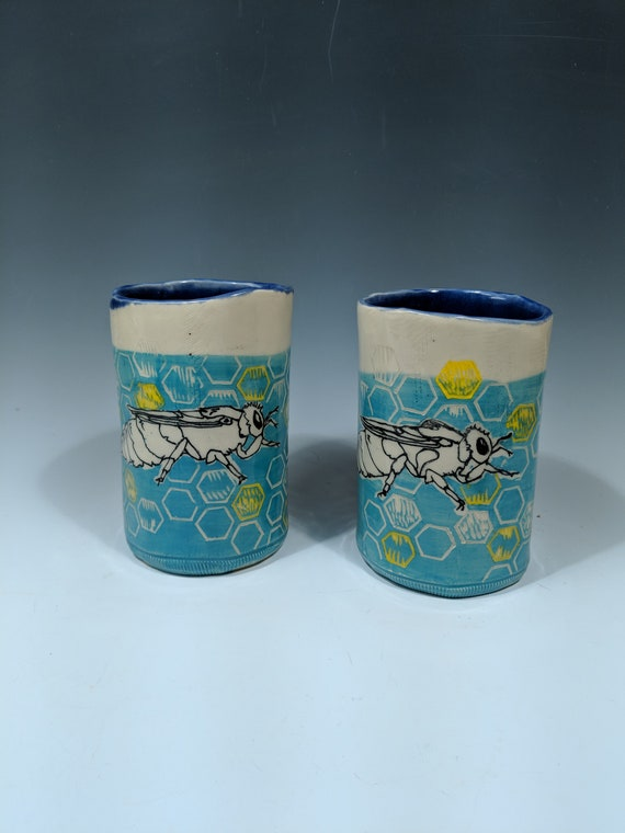 Hand built ceramic cup, with Queen Bees by Michelle Hinton 16 oz