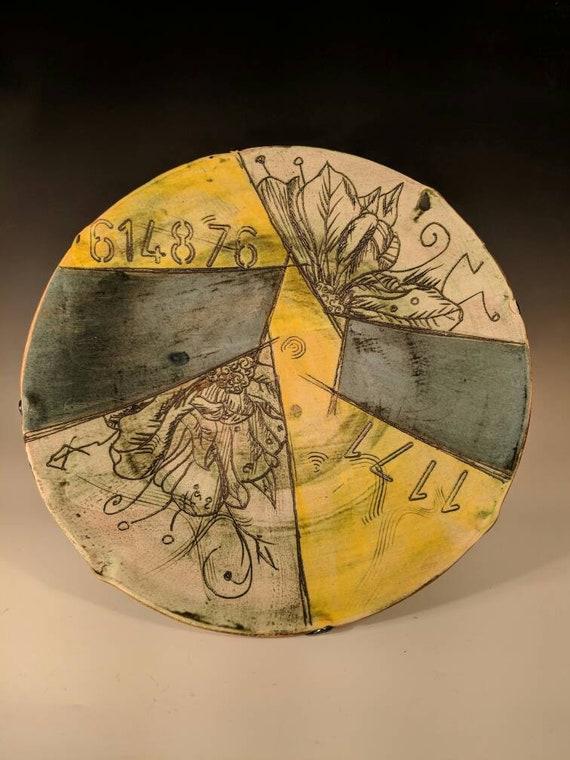 Large Handmade ceramic platter, with peonies