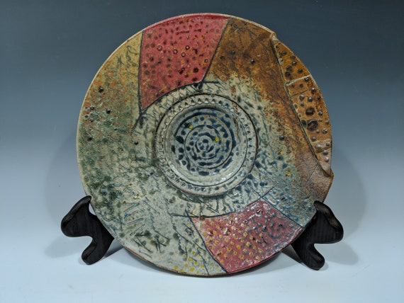 Large Handmade ceramic platter, with Red, yellow dots