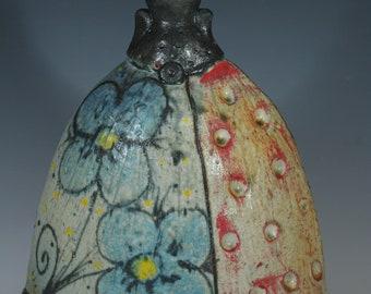 Handmade Ceramic Blue Pansy Altered Bottle