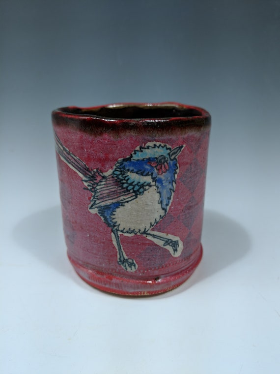 Hand built ceramic cup, red, with Fairy Wrens by Michelle Hinton