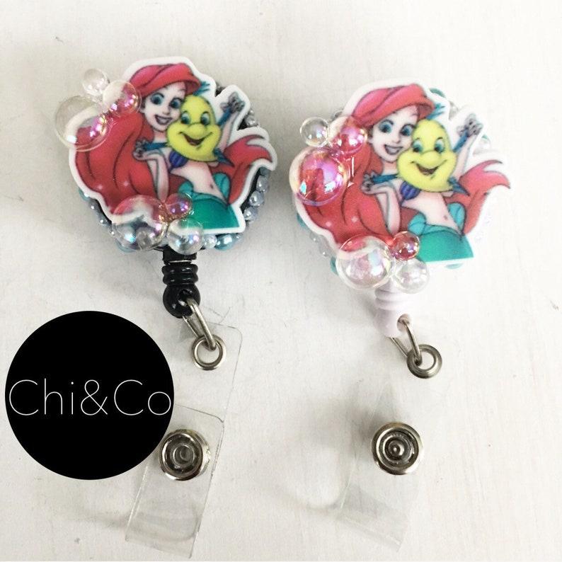 Mermaid badge reel  Pull reel  Badge clip  Bling  Retractable  Lanyard   Keychain  ID holder  Gift ideas  Badge holder  Sea